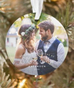 Personalized Our First Christmas Mr and Mrs Wedding Photo Ornament