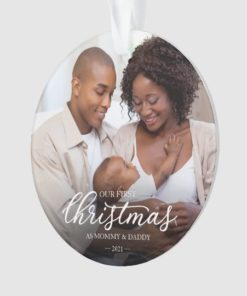 Personalized Our First Christmas as Mom and Dad Family Photo Ornament 1