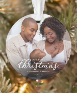 Personalized Our First Christmas as Mom and Dad Family Photo Ornament