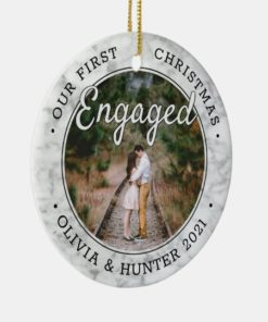 Personalized Photo Our First Christmas Engaged 2021 Ornament 1