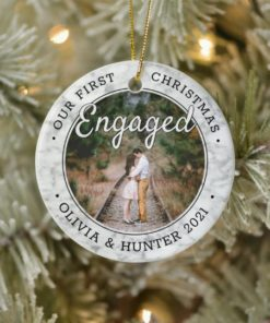 Personalized Photo Our First Christmas Engaged 2021 Ornament