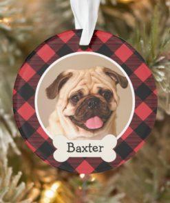 Personalized Red Buffalo Plaid Custom Pet Puppy Dog Photo Ornament